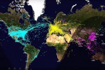 Los fascinantes mapas que muestran los miles de vuelos que cruzan los cielos cada día (y los planes de la NASA para mejorar el tráfico aéreo)