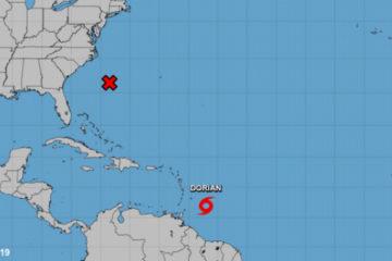 Tormenta Dorian se fortalece con vientos de 95 kilómetros por hora mientras se dirige al Caribe