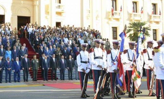 Realizan homenaje a la Bandera en el Palacio Nacional